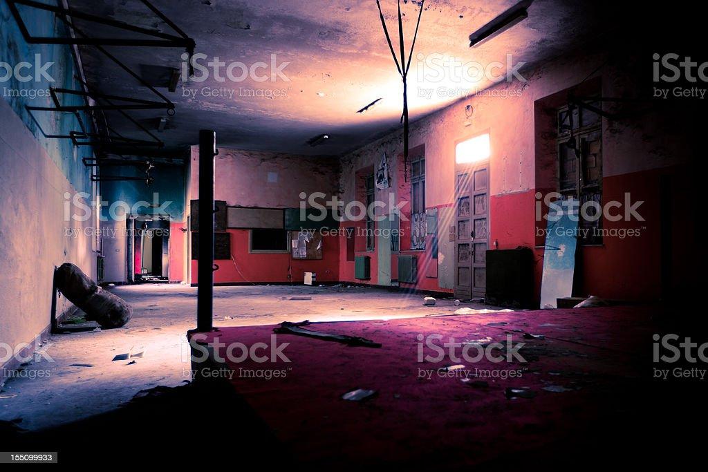 Burnt Boxing gym stock photo