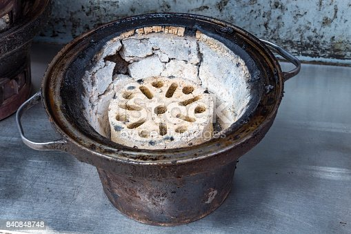 istock A burnt briquette and A rusted iron bowl 840848748