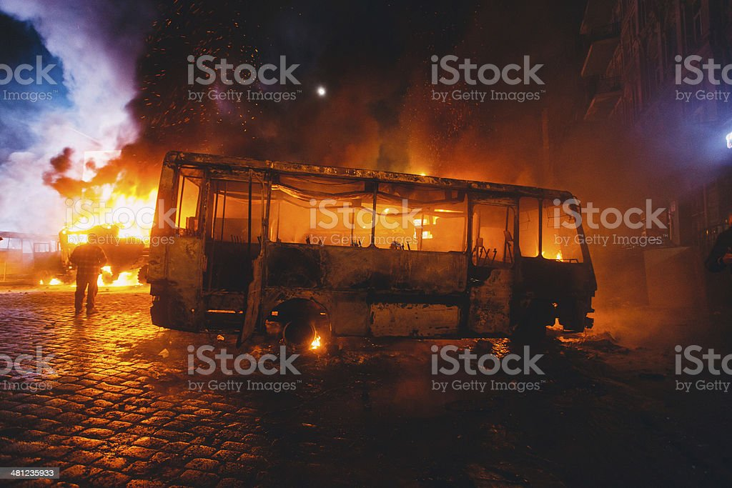 Burnt bus stock photo