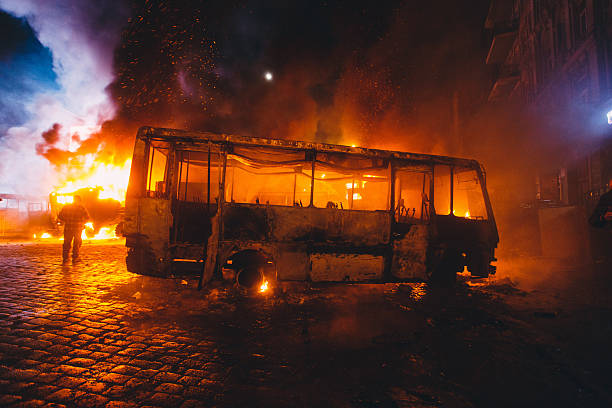 Burnt bus Kiev, Ukraine - 20 January, 2014 riot stock pictures, royalty-free photos & images