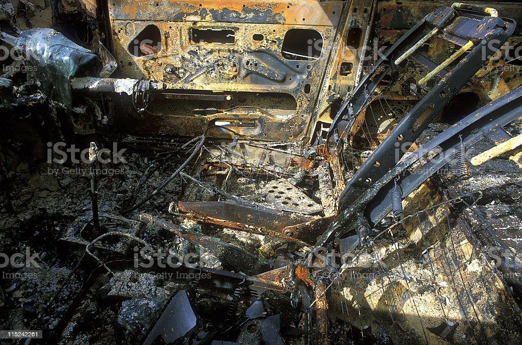 Burnt car interior royalty-free stock photo