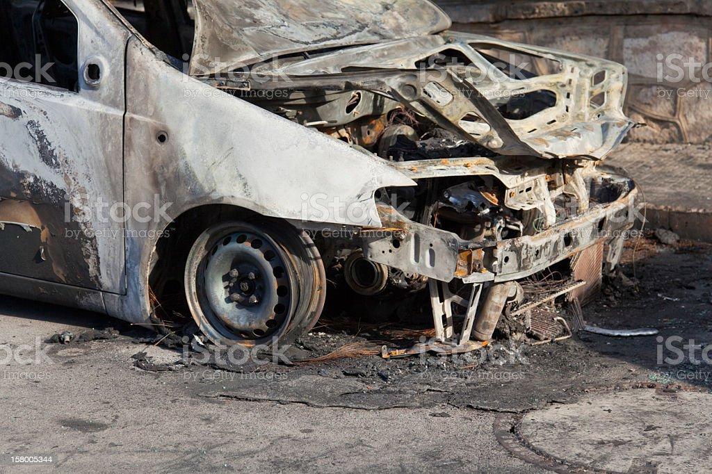 Burnt car stock photo