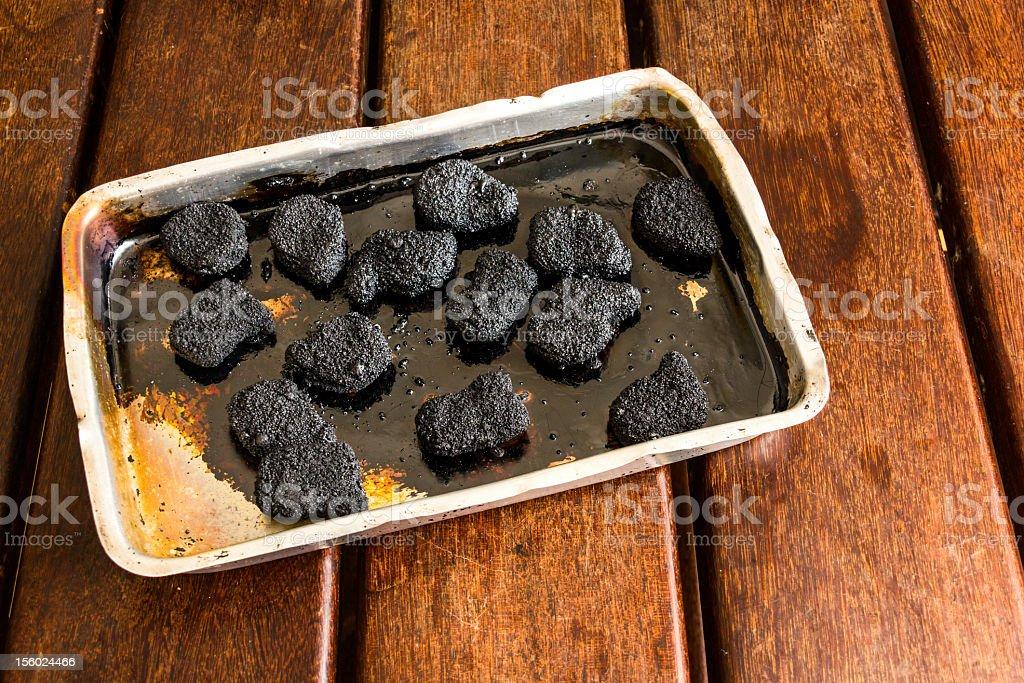 burnt chicken nugget