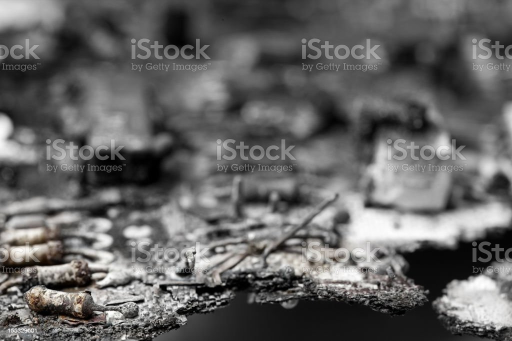 Burnt Circuit Board stock photo