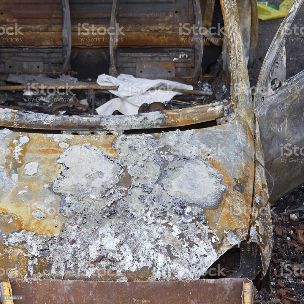 burnt down car royalty-free stock photo