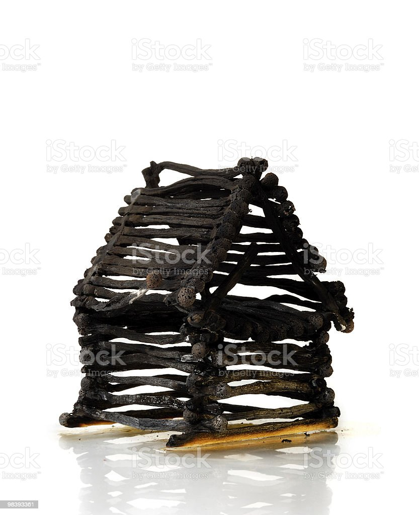 Burnt Down House From Matches royalty-free stock photo