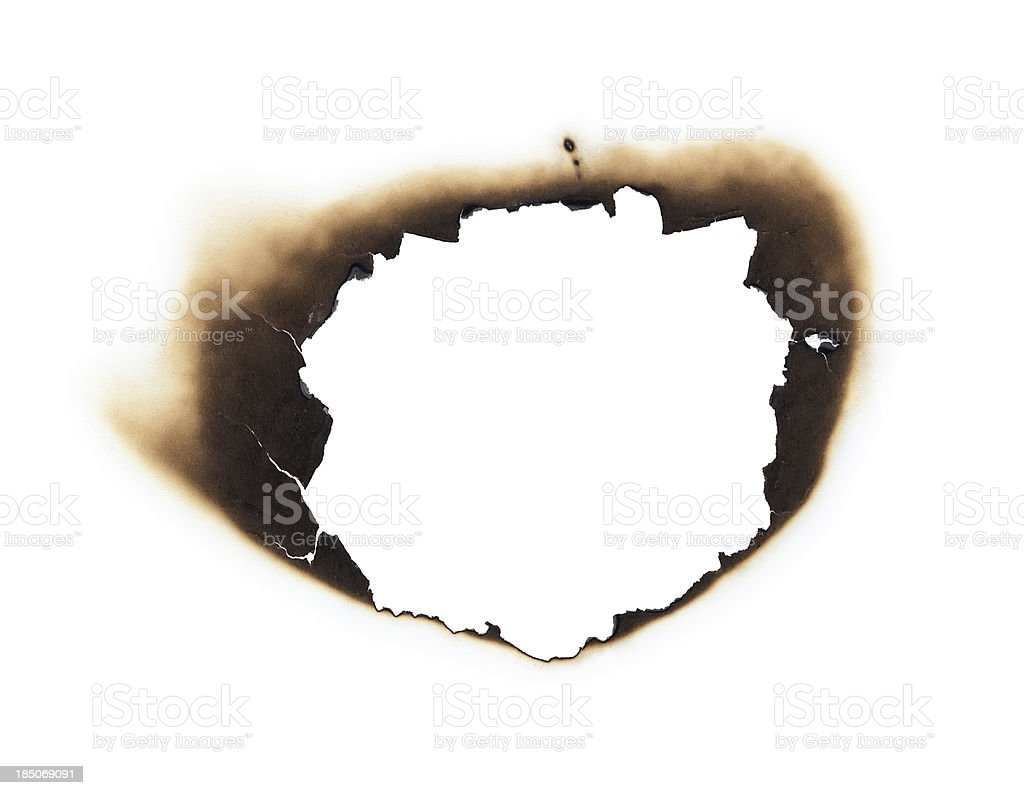 burnt hole stock photo