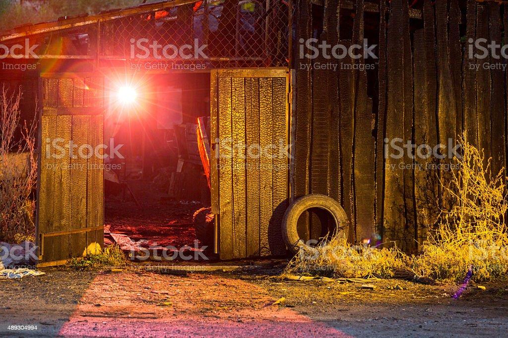 Burnt House At Night stock photo