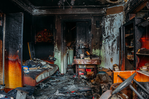 Burnt house interior after fire