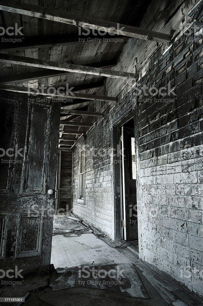 Burnt house porch stock photo
