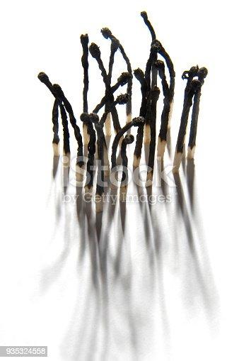 istock burnt matches on white background 935324558