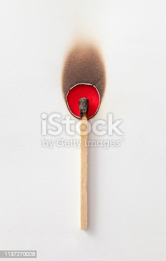 Burnt matchstick on white background.