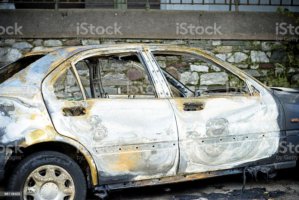 Burnt out and Stolen Car royalty-free stock photo