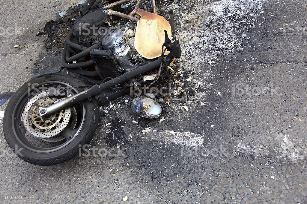 Burnt out Motorbike royalty-free stock photo