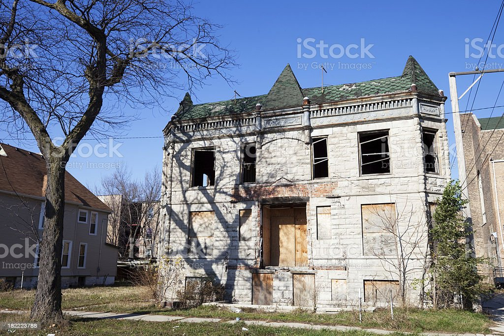 Burnt out Victorian House in Chicago royalty-free stock photo