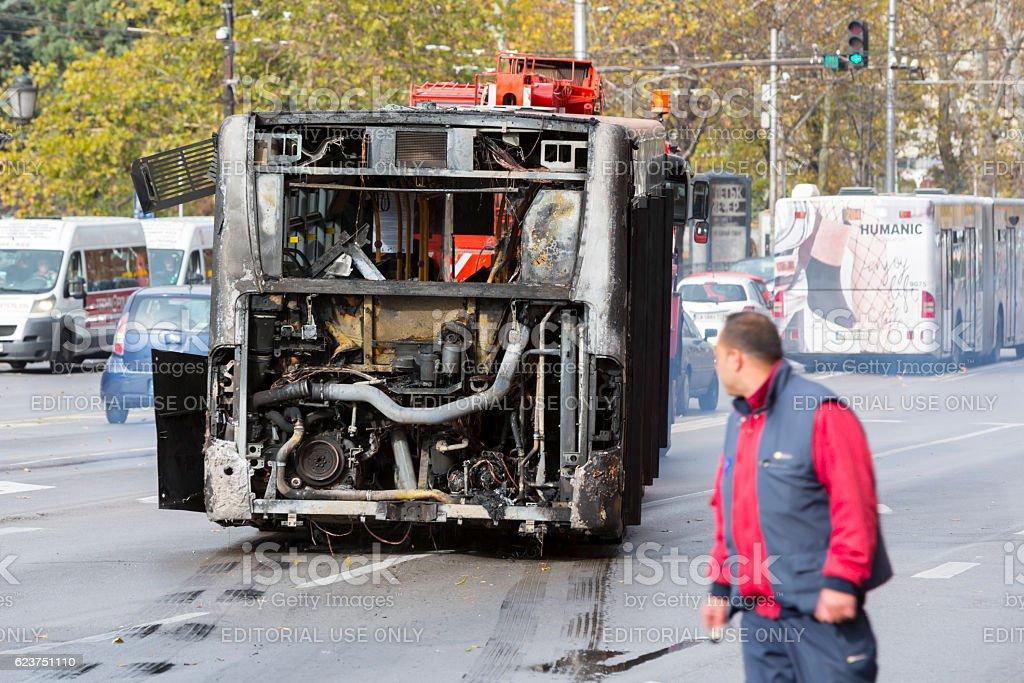 Burnt public traffic bus stock photo