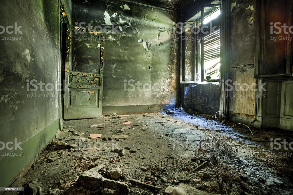 Burnt Room in Abandoned House, HDR stock photo