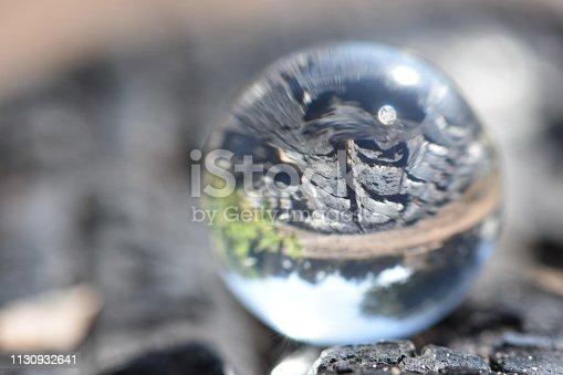 A burnt trunk through a crystal ball