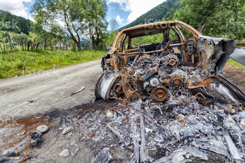 Burnt vehicle stock photo