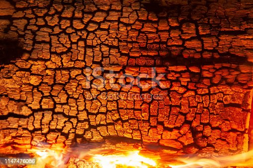 Burning log of wood close-up as abstract background. The hot embers of burning wood log fire. Firewood burning on grill. Texture fire bonfire embers. Smoldering fire