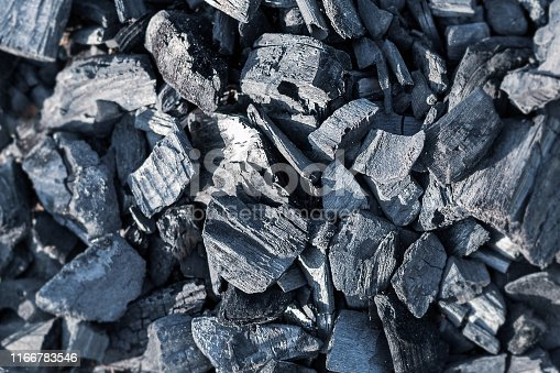 Top view of black burnt embers. Contrast texture of burnt wood.