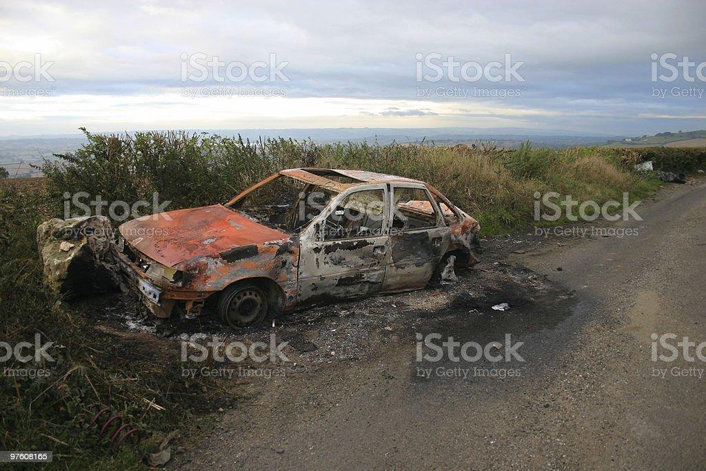 Burnt wreck royalty-free stock photo