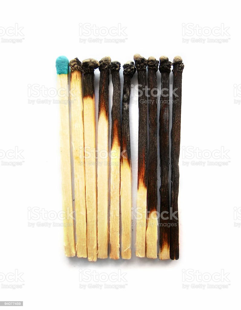 burnted matches stock photo