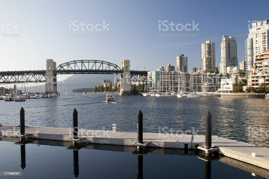 Burrard Bridge from Granville Island and Vancouver City royalty-free stock photo