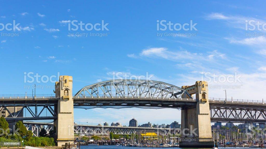 Burrard Bridge in the morning in Vancouver, British Columbia, Canada. stock photo