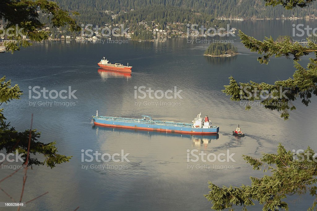 Burrard Inlet Oil Tankers, Vancouver stock photo
