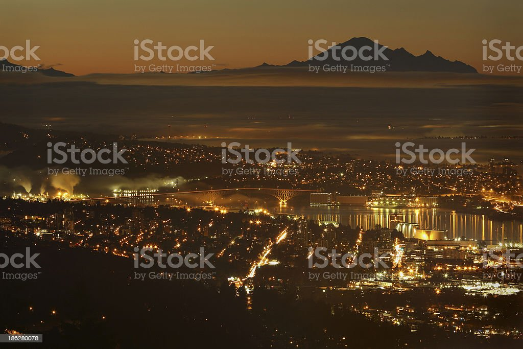 Burrard Inlet Twilight, Mount Baker, Vancouver royalty-free stock photo
