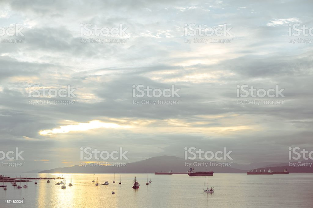 Burrard Inlet vancouver BC Container Ship boats stock photo