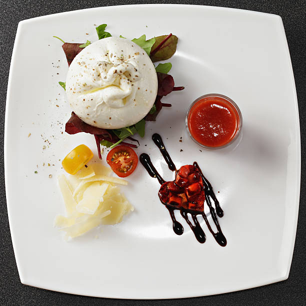 Burrata cheese above view stock photo