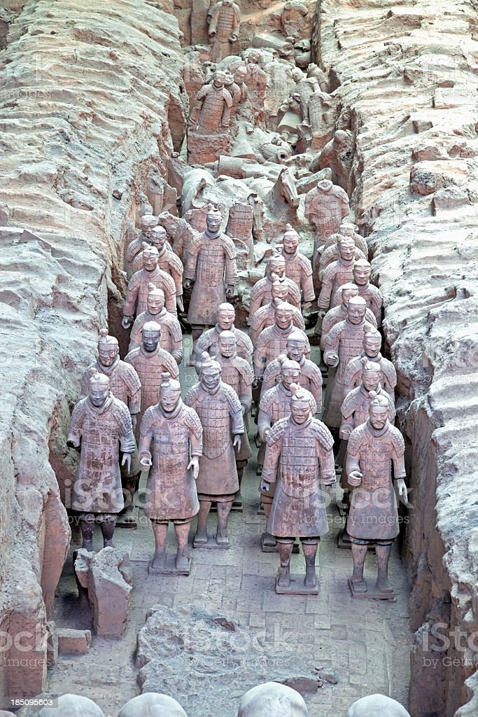 Burried Terracotta Warriors in Xi'an, China stock photo