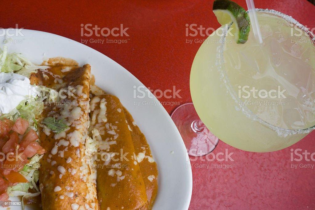 Burrito and margarita royalty-free stock photo