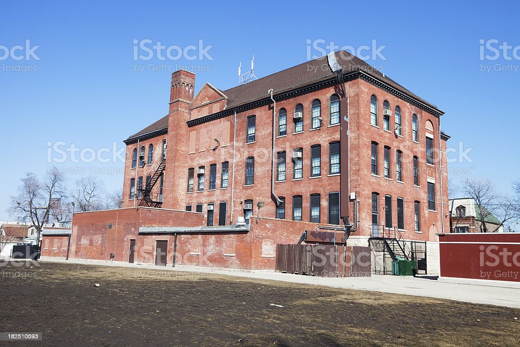 Burroughs Elementary School in Brighton Park, Chicago royalty-free stock photo
