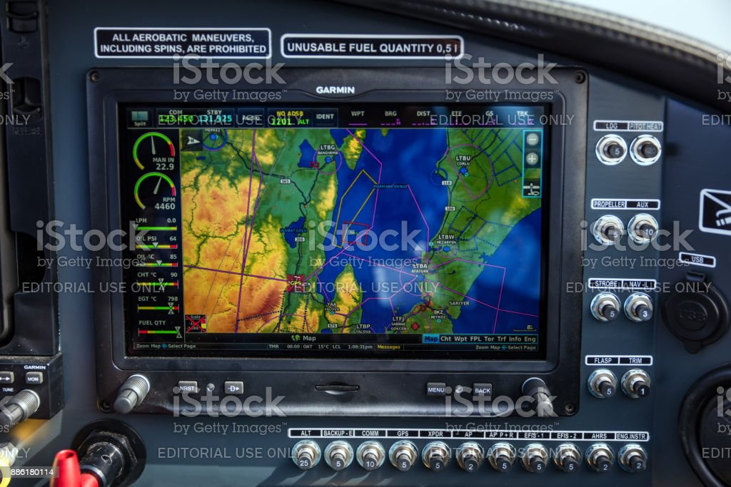 Bursa, Turkey - November 18, 2017; Bursa Yunuseli Airport, ultralight aircraft radar screen. Bursa, Turkey stock photo