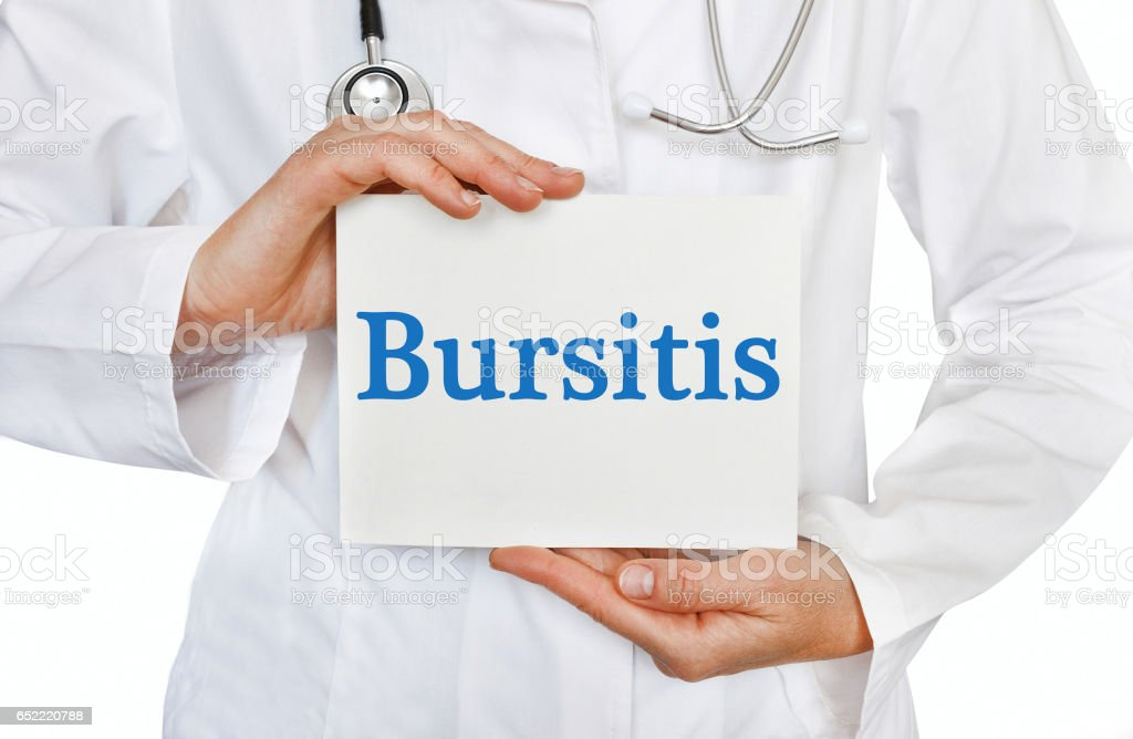 Bursitis card in hands of Medical Doctor stock photo