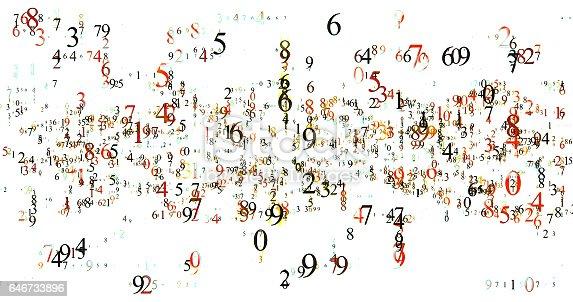 istock burst set of random numbers glowing 646733896