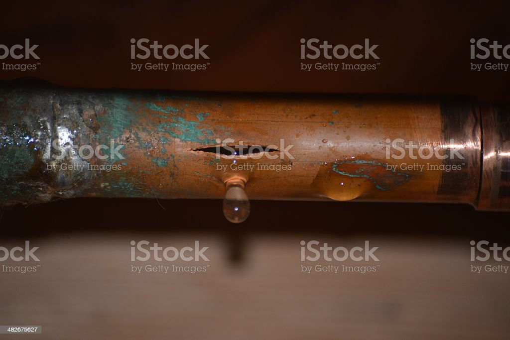Burst Water Pipe stock photo