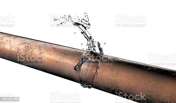 Bursted Kupferrohr Mit Wasserleckage Aus Stockfoto und mehr Bilder von Alt