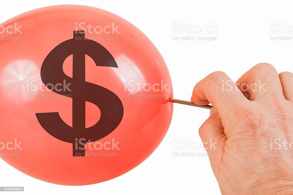 Bursting of the Dollar bubble stock photo