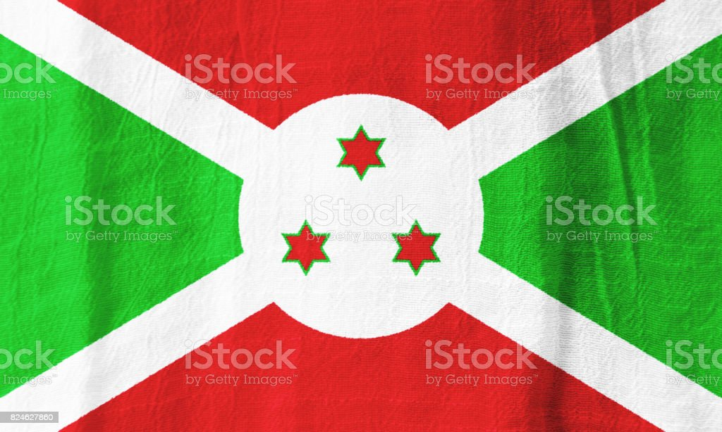 Burundi fabric flag  national flag from fabric for graphic design. stock photo
