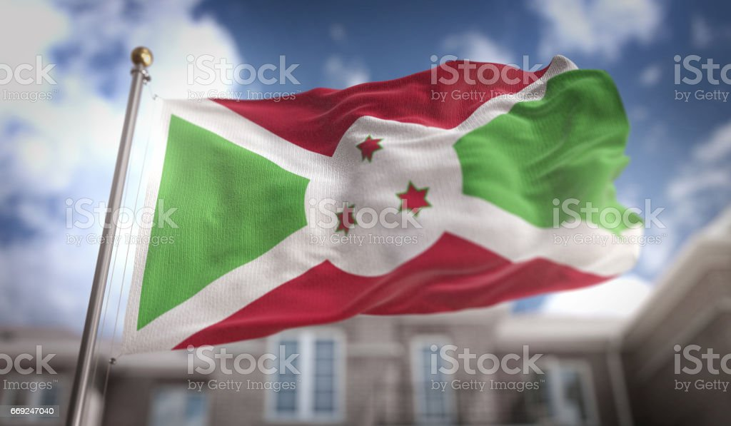 Burundi Flag 3D Rendering on Blue Sky Building Background stock photo