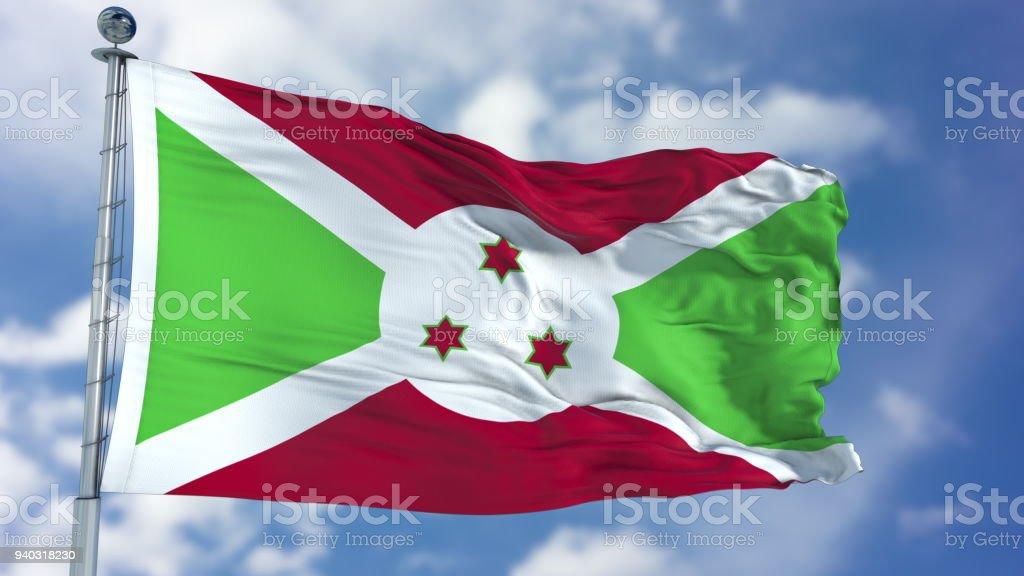 Burundi Flag in a Blue Sky stock photo
