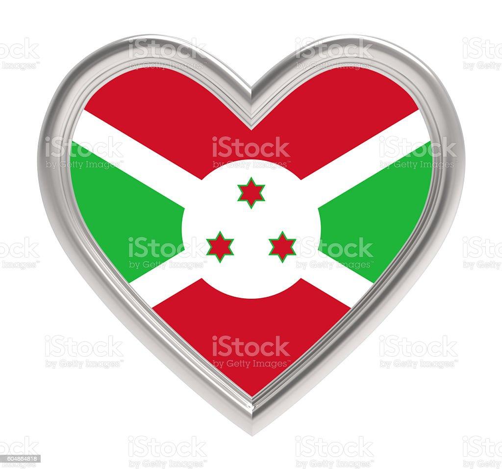 Burundi flag in silver heart isolated on white background. stock photo