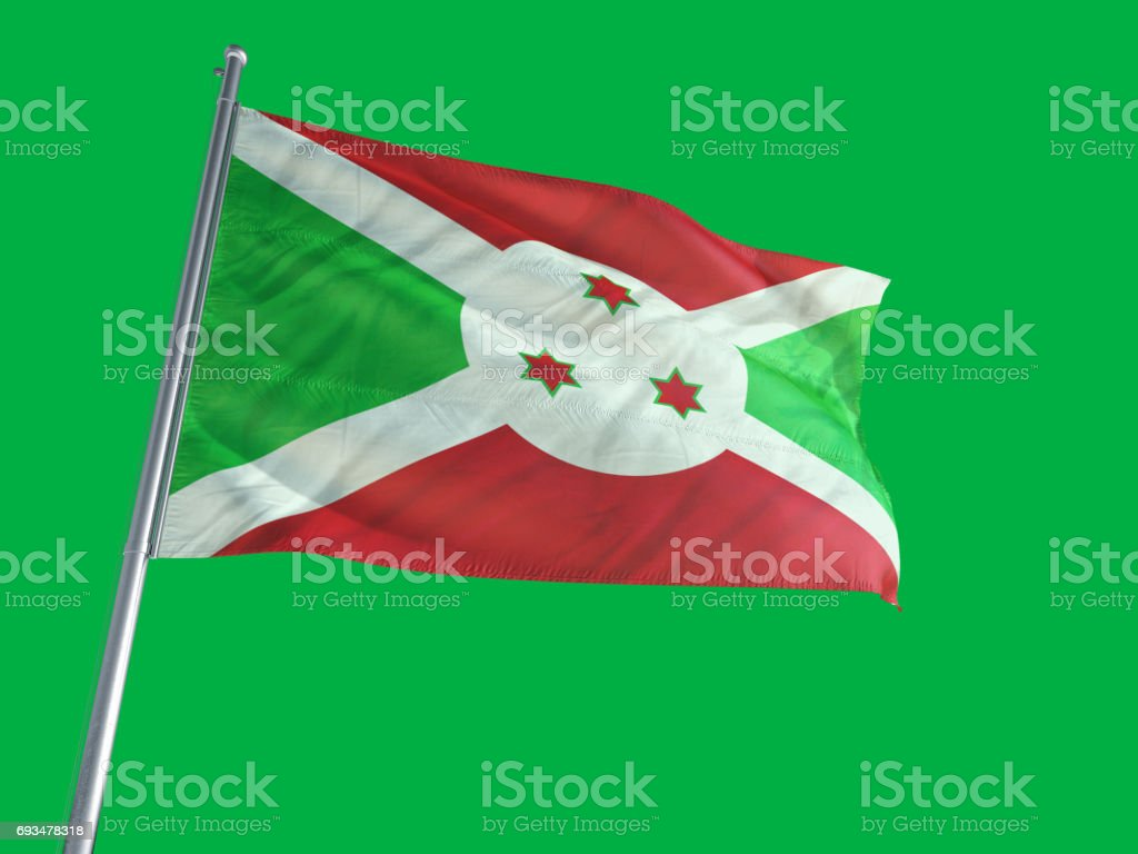 Burundi Flag on Green-Screen stock photo
