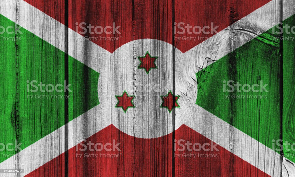 Burundi flag painted on wooden wall for background stock photo