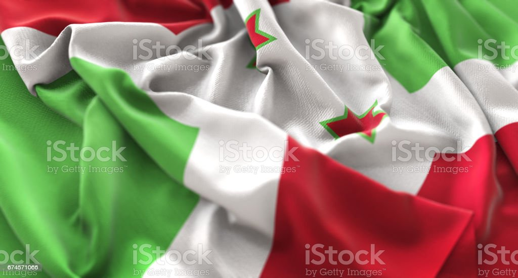 Burundi Flag Ruffled Beautifully Waving Macro Close-Up Shot stock photo