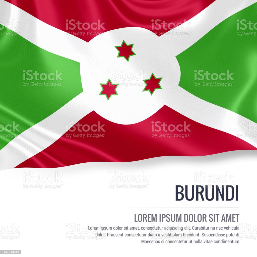 Burundi flag. Silky flag of Burundi waving on an isolated white background with the white text area for your advert message. 3D rendering. stock photo